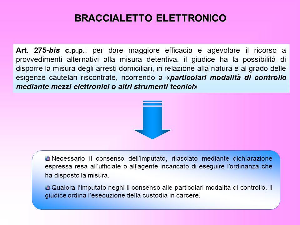 BRACCIALETTO ELETTRONICO Art. 275-bis c.p.p.: per dare maggiore efficacia e agevolare il ricorso a provvedimenti alternativi alla misura detentiva, il