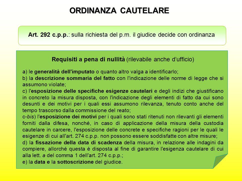 ORDINANZA CAUTELARE Art. 292 c.p.p.: sulla richiesta del p.m. il giudice decide con ordinanza Requisiti a pena di nullità (rilevabile anche d'ufficio)
