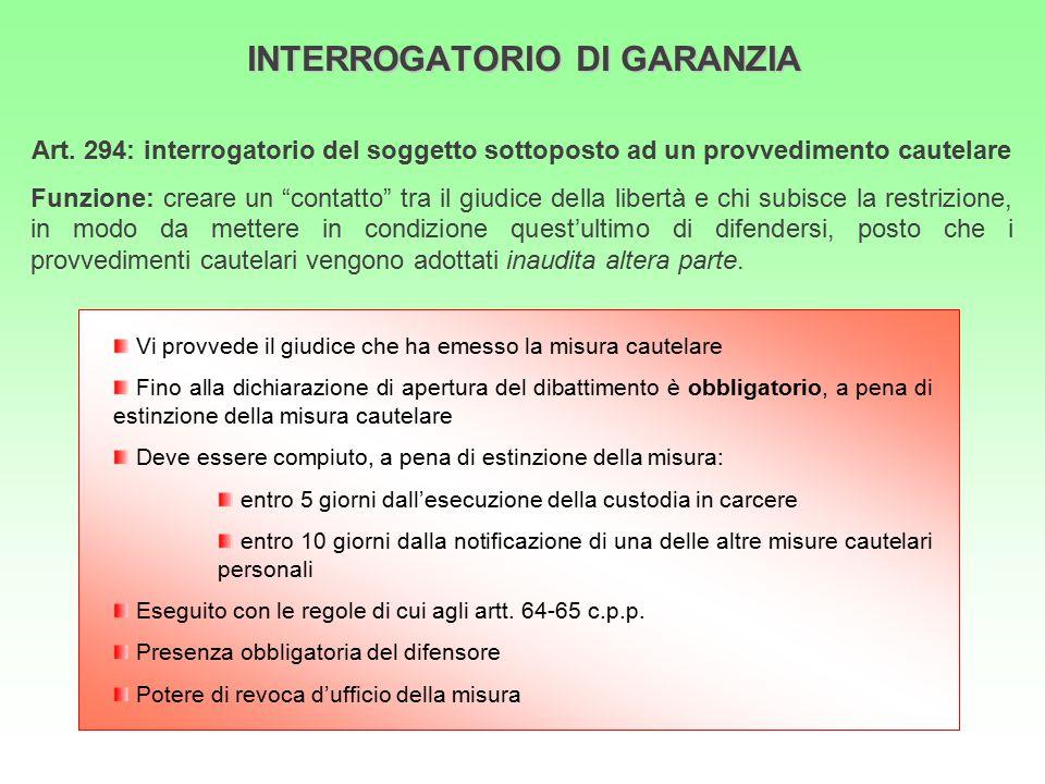 """INTERROGATORIO DI GARANZIA Art. 294: interrogatorio del soggetto sottoposto ad un provvedimento cautelare Funzione: creare un """"contatto"""" tra il giudic"""