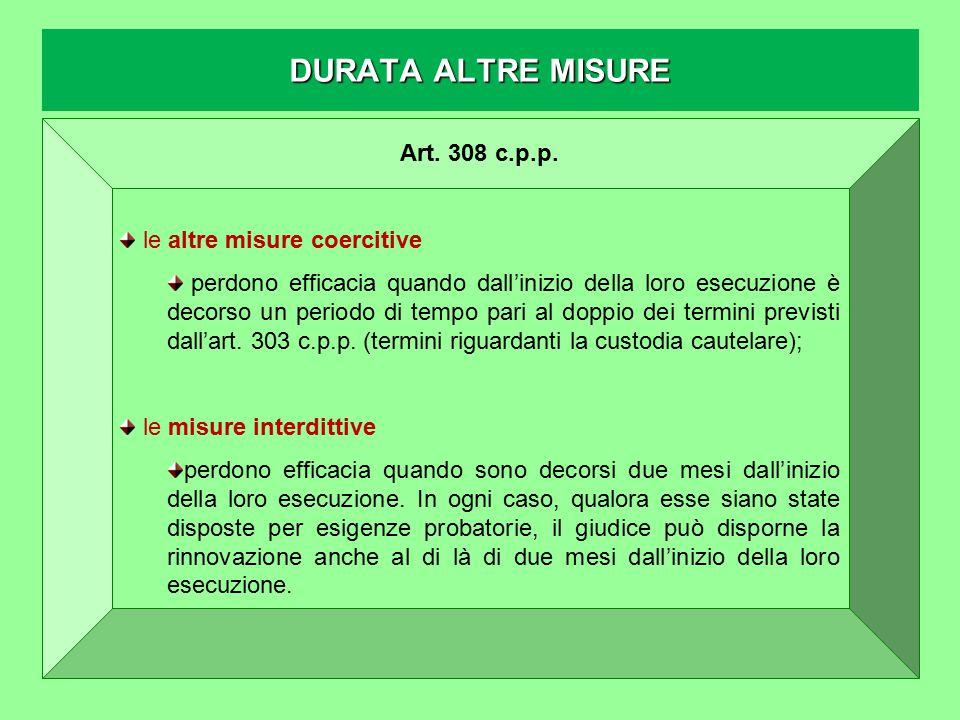 DURATA ALTRE MISURE Art. 308 c.p.p. le altre misure coercitive perdono efficacia quando dall'inizio della loro esecuzione è decorso un periodo di temp