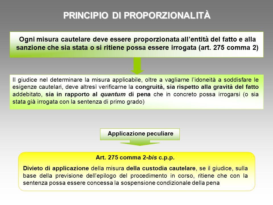 PRINCIPIO DI PROPORZIONALITÀ Ogni misura cautelare deve essere proporzionata all'entità del fatto e alla sanzione che sia stata o si ritiene possa essere irrogata (art.