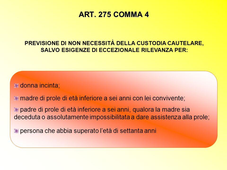 ART. 275 COMMA 4 PREVISIONE DI NON NECESSITÀ DELLA CUSTODIA CAUTELARE, SALVO ESIGENZE DI ECCEZIONALE RILEVANZA PER: donna incinta; madre di prole di e