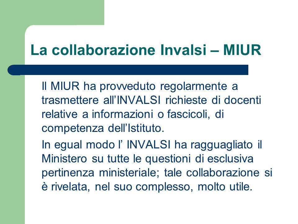 La collaborazione Invalsi – MIUR Il MIUR ha provveduto regolarmente a trasmettere all'INVALSI richieste di docenti relative a informazioni o fascicoli, di competenza dell'Istituto.