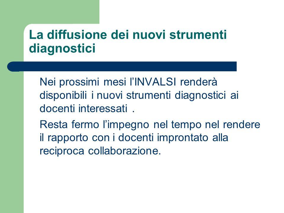 La diffusione dei nuovi strumenti diagnostici Nei prossimi mesi l'INVALSI renderà disponibili i nuovi strumenti diagnostici ai docenti interessati.