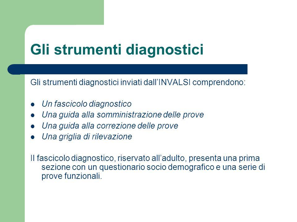 Gli strumenti diagnostici Gli strumenti diagnostici inviati dall'INVALSI comprendono: Un fascicolo diagnostico Una guida alla somministrazione delle p