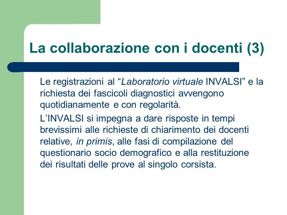 La collaborazione con i docenti (3) Le registrazioni al Laboratorio virtuale INVALSI e la richiesta dei fascicoli diagnostici avvengono quotidianamente e con regolarità.