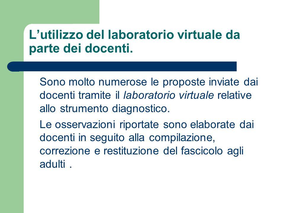 L'utilizzo del laboratorio virtuale da parte dei docenti. Sono molto numerose le proposte inviate dai docenti tramite il laboratorio virtuale relative