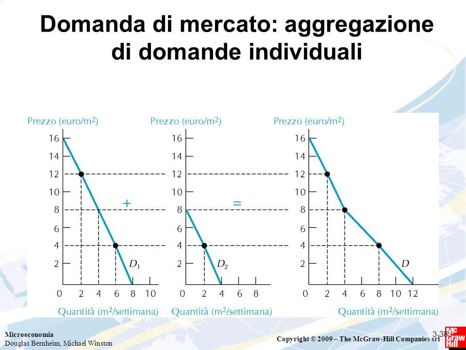 Microeconomia Douglas Bernheim, Michael Winston Copyright © 2009 – The McGraw-Hill Companies srl Domanda di mercato: aggregazione di domande individuali 3-38