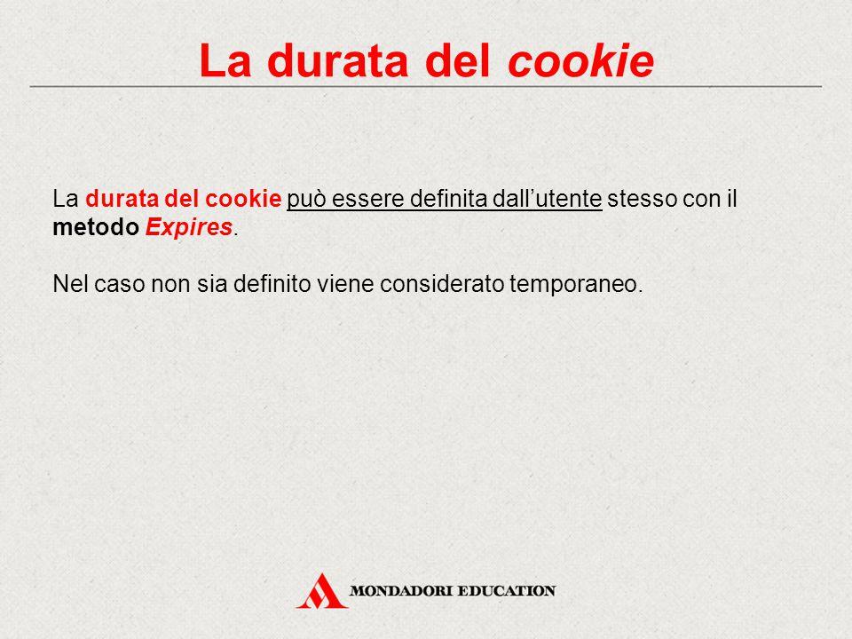 La durata del cookie La durata del cookie può essere definita dall'utente stesso con il metodo Expires.