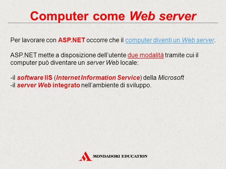 Computer come Web server Per lavorare con ASP.NET occorre che il computer diventi un Web server.