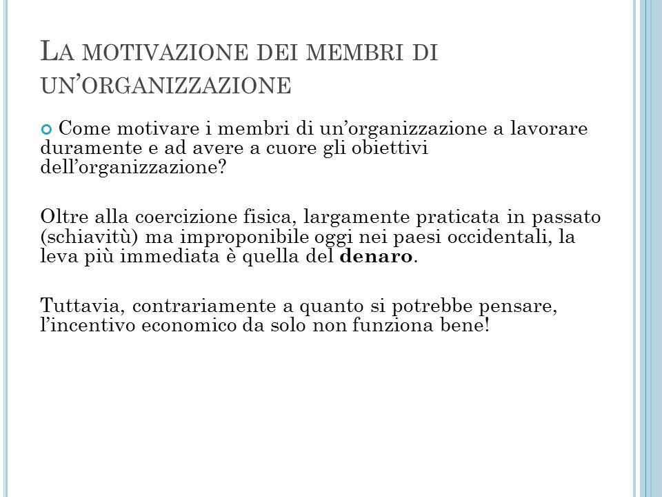 L A MOTIVAZIONE DEI MEMBRI DI UN ' ORGANIZZAZIONE Come motivare i membri di un'organizzazione a lavorare duramente e ad avere a cuore gli obiettivi dell'organizzazione.