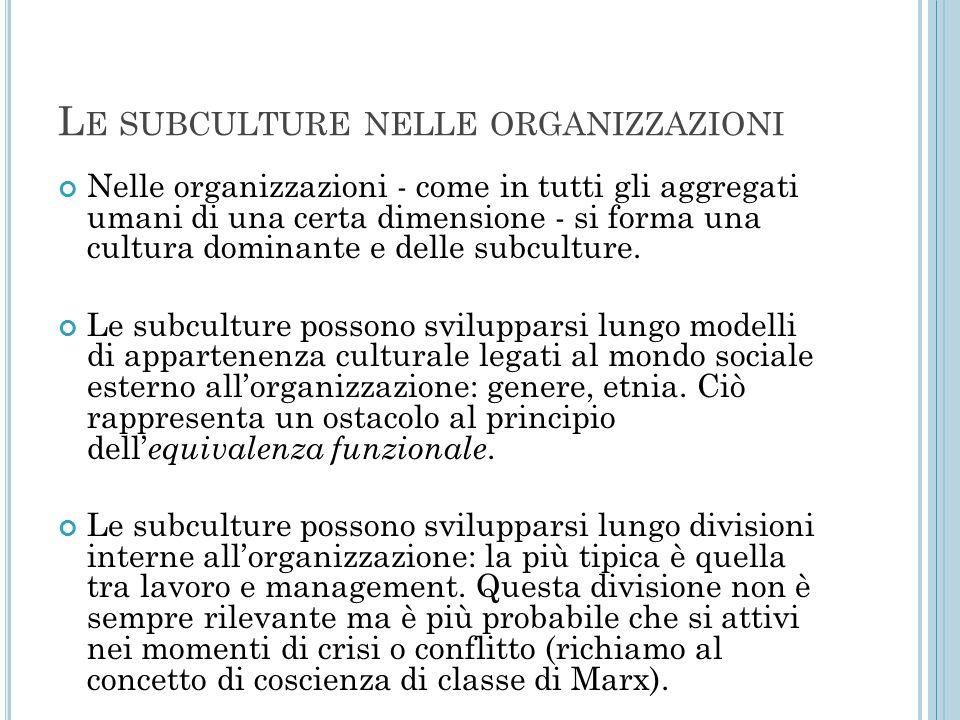 L E SUBCULTURE NELLE ORGANIZZAZIONI Nelle organizzazioni - come in tutti gli aggregati umani di una certa dimensione - si forma una cultura dominante e delle subculture.