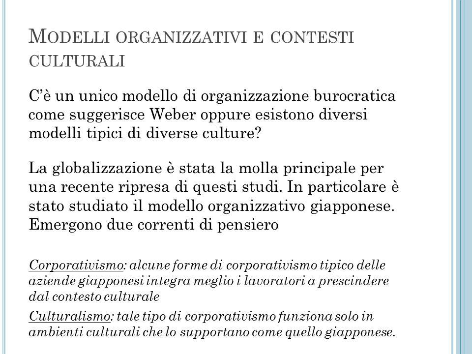 M ODELLI ORGANIZZATIVI E CONTESTI CULTURALI C'è un unico modello di organizzazione burocratica come suggerisce Weber oppure esistono diversi modelli tipici di diverse culture.