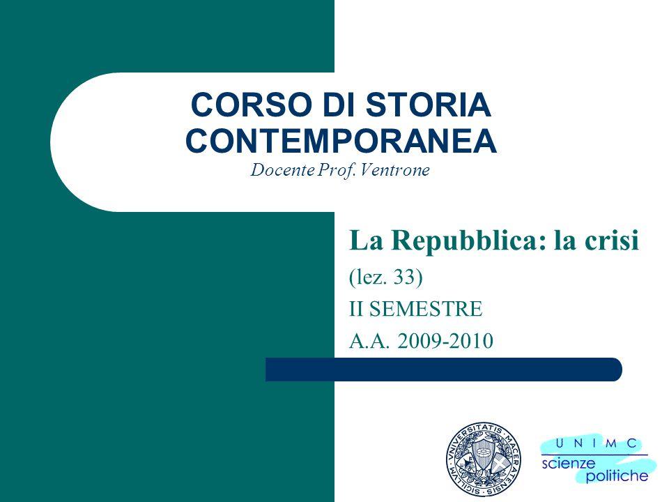 CORSO DI STORIA CONTEMPORANEA Docente Prof.Ventrone La Repubblica: la crisi (lez.