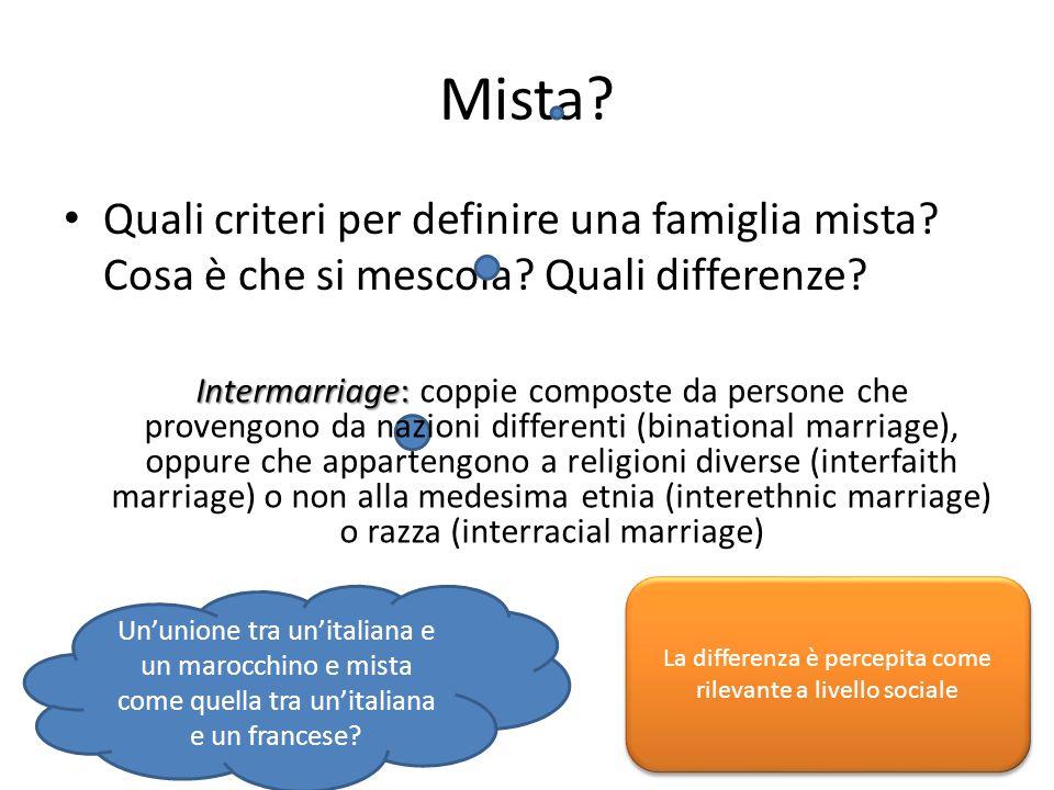 Mista? Quali criteri per definire una famiglia mista? Cosa è che si mescola? Quali differenze? Un'unione tra un'italiana e un marocchino e mista come