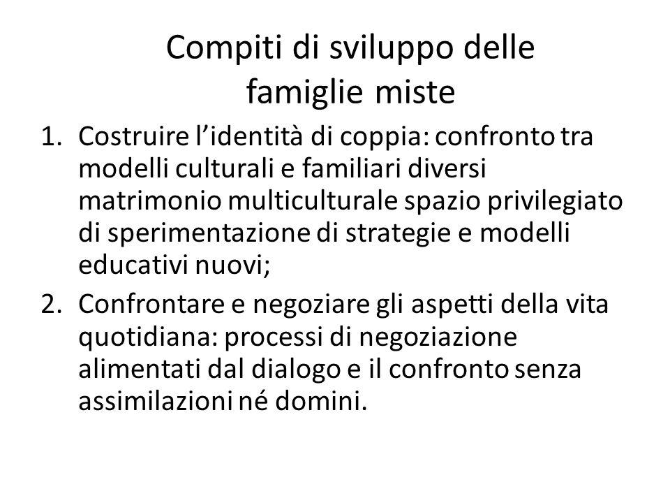 Compiti di sviluppo delle famiglie miste 1.Costruire l'identità di coppia: confronto tra modelli culturali e familiari diversi matrimonio multicultura