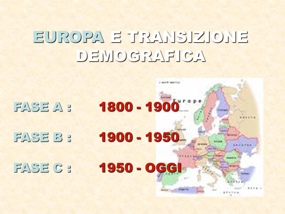 EUROPA E TRANSIZIONE DEMOGRAFICA FASE A : 1800 - 1900 FASE B : 1900 - 1950 FASE C : 1950 - OGGI