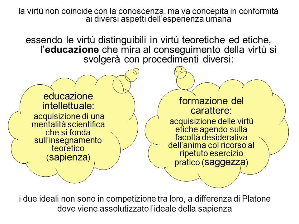 la virtù non coincide con la conoscenza, ma va concepita in conformità ai diversi aspetti dell'esperienza umana essendo le virtù distinguibili in virt