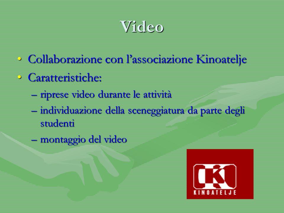 Video Collaborazione con l'associazione KinoateljeCollaborazione con l'associazione Kinoatelje Caratteristiche:Caratteristiche: –riprese video durante le attività –individuazione della sceneggiatura da parte degli studenti –montaggio del video