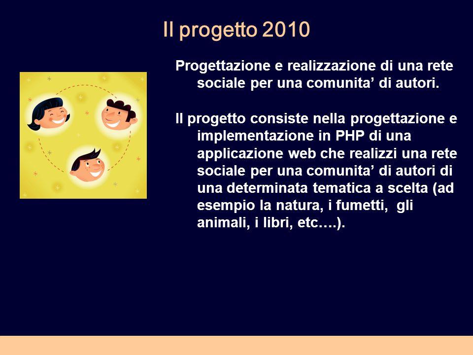 Il progetto 2010 Progettazione e realizzazione di una rete sociale per una comunita' di autori.