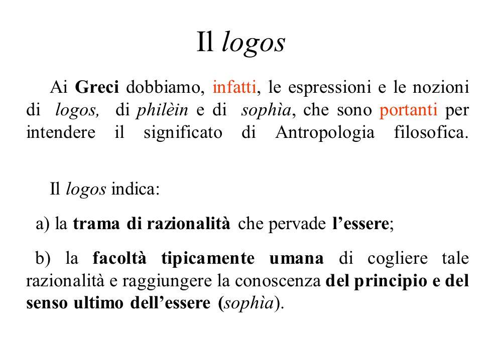 Il logos Ai Greci dobbiamo, infatti, le espressioni e le nozioni di logos, di philèin e di sophìa, che sono portanti per intendere il significato di A