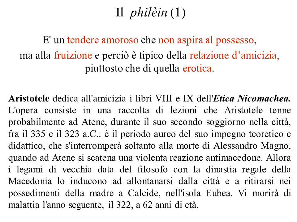Il philèin (1) E' un tendere amoroso che non aspira al possesso, ma alla fruizione e perciò è tipico della relazione d'amicizia, piuttosto che di quel