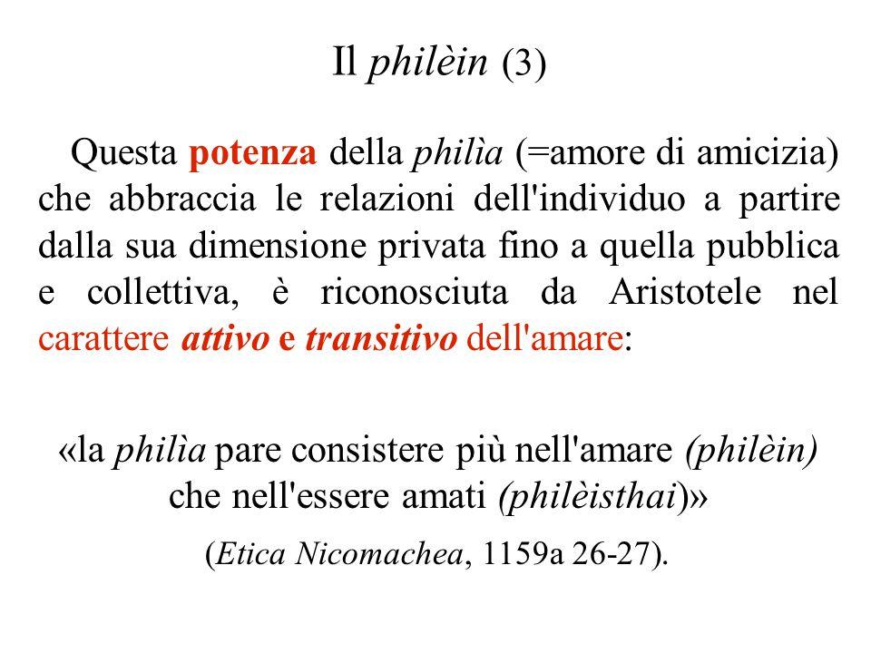 Il philèin (3) Questa potenza della philìa (=amore di amicizia) che abbraccia le relazioni dell'individuo a partire dalla sua dimensione privata fino