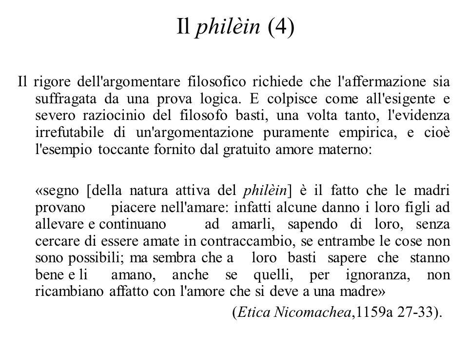 Il philèin (4) Il rigore dell'argomentare filosofico richiede che l'affermazione sia suffragata da una prova logica. E colpisce come all'esigente e se