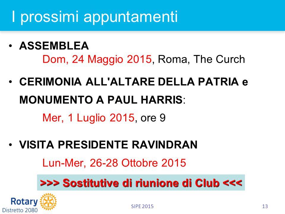 SIPE 201513 I prossimi appuntamenti ASSEMBLEA Dom, 24 Maggio 2015, Roma, The Curch CERIMONIA ALL ALTARE DELLA PATRIA e MONUMENTO A PAUL HARRIS: Mer, 1 Luglio 2015, ore 9 VISITA PRESIDENTE RAVINDRAN Lun-Mer, 26-28 Ottobre 2015 >>> Sostitutive di riunione di Club >> Sostitutive di riunione di Club <<<