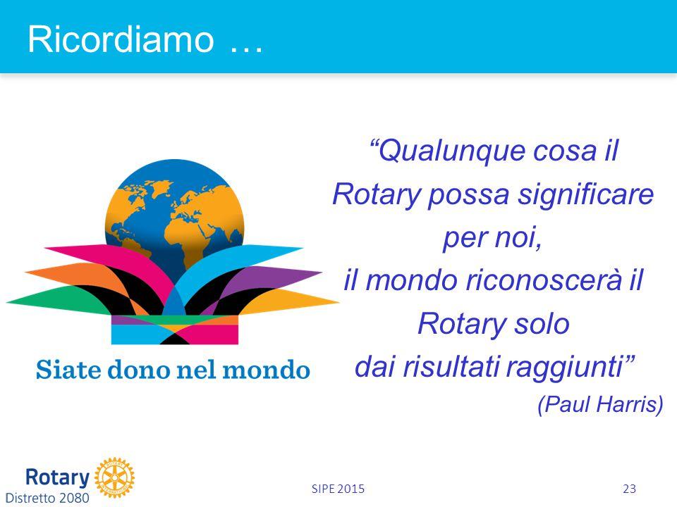 SIPE 201523 Ricordiamo … Qualunque cosa il Rotary possa significare per noi, il mondo riconoscerà il Rotary solo dai risultati raggiunti (Paul Harris)