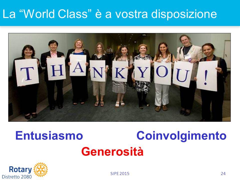 SIPE 201524 La World Class è a vostra disposizione Entusiasmo Coinvolgimento Generosità
