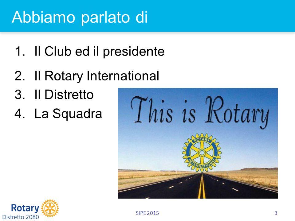 SIPE 20153 Abbiamo parlato di 1.Il Club ed il presidente 2.Il Rotary International 3.Il Distretto 4.La Squadra