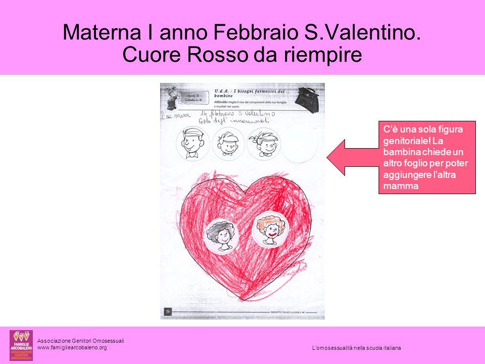 Associazione Genitori Omosessuali www.famigliearcobaleno.org L'omosessualità nella scuola italiana Materna I anno Febbraio S.Valentino.