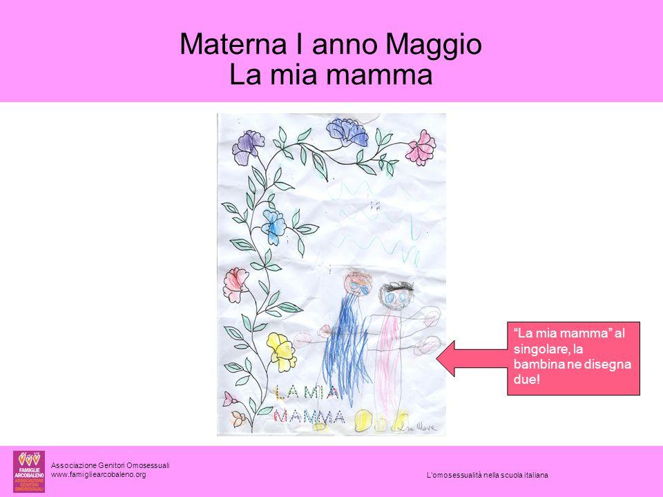Associazione Genitori Omosessuali www.famigliearcobaleno.org L'omosessualità nella scuola italiana Materna I anno Maggio La mia mamma La mia mamma al singolare, la bambina ne disegna due!