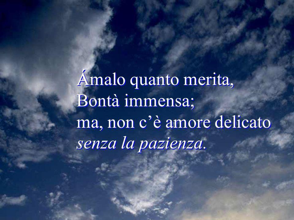 Ámalo quanto merita, Bontà immensa; ma, non c'è amore delicato senza la pazienza.