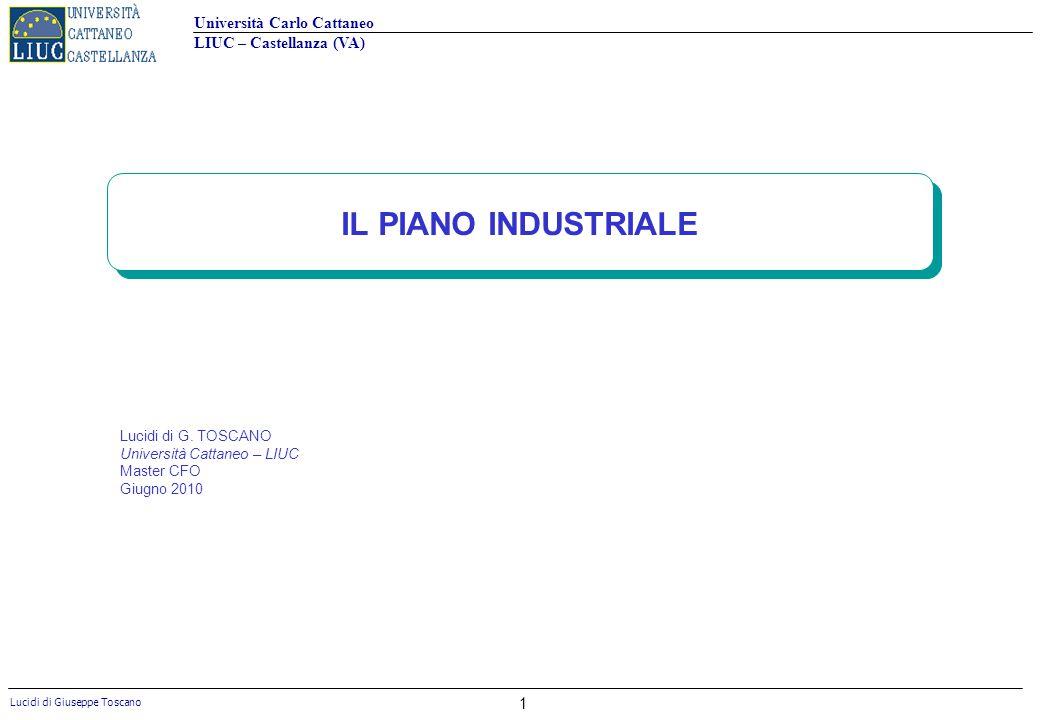 Università Carlo Cattaneo LIUC – Castellanza (VA) Lucidi di Giuseppe Toscano 1 IL PIANO INDUSTRIALE Lucidi di G. TOSCANO Università Cattaneo – LIUC Ma