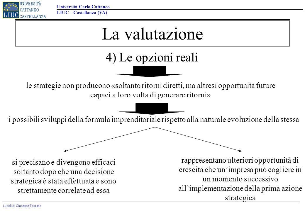 Università Carlo Cattaneo LIUC – Castellanza (VA) Lucidi di Giuseppe Toscano La valutazione 4) Le opzioni reali le strategie non producono «soltanto r