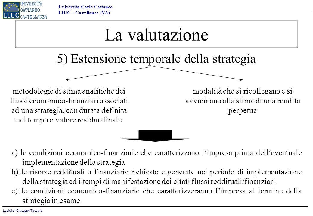 Università Carlo Cattaneo LIUC – Castellanza (VA) Lucidi di Giuseppe Toscano La valutazione 5) Estensione temporale della strategia metodologie di sti