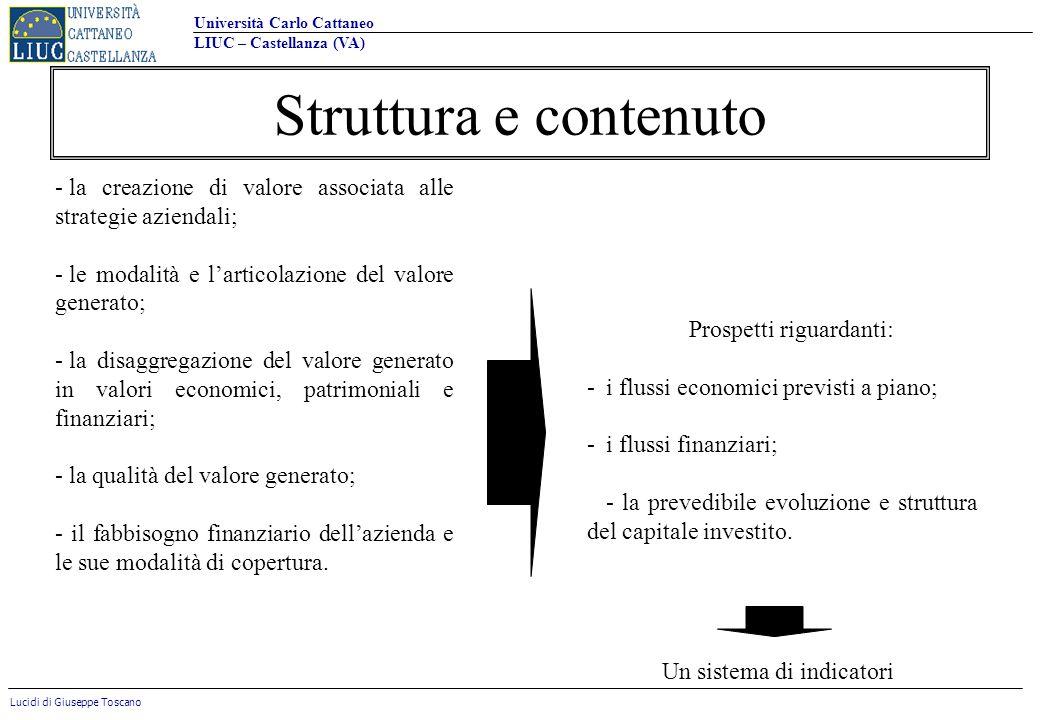 Università Carlo Cattaneo LIUC – Castellanza (VA) Lucidi di Giuseppe Toscano Struttura e contenuto - la creazione di valore associata alle strategie a