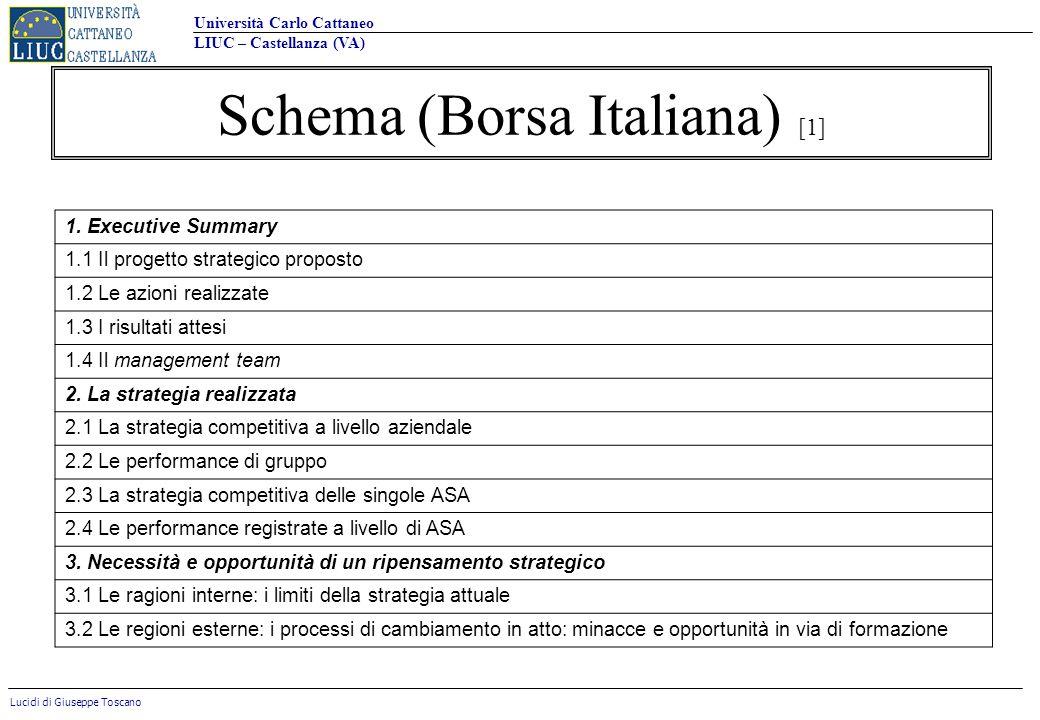 Università Carlo Cattaneo LIUC – Castellanza (VA) Lucidi di Giuseppe Toscano 1. Executive Summary 1.1 Il progetto strategico proposto 1.2 Le azioni re