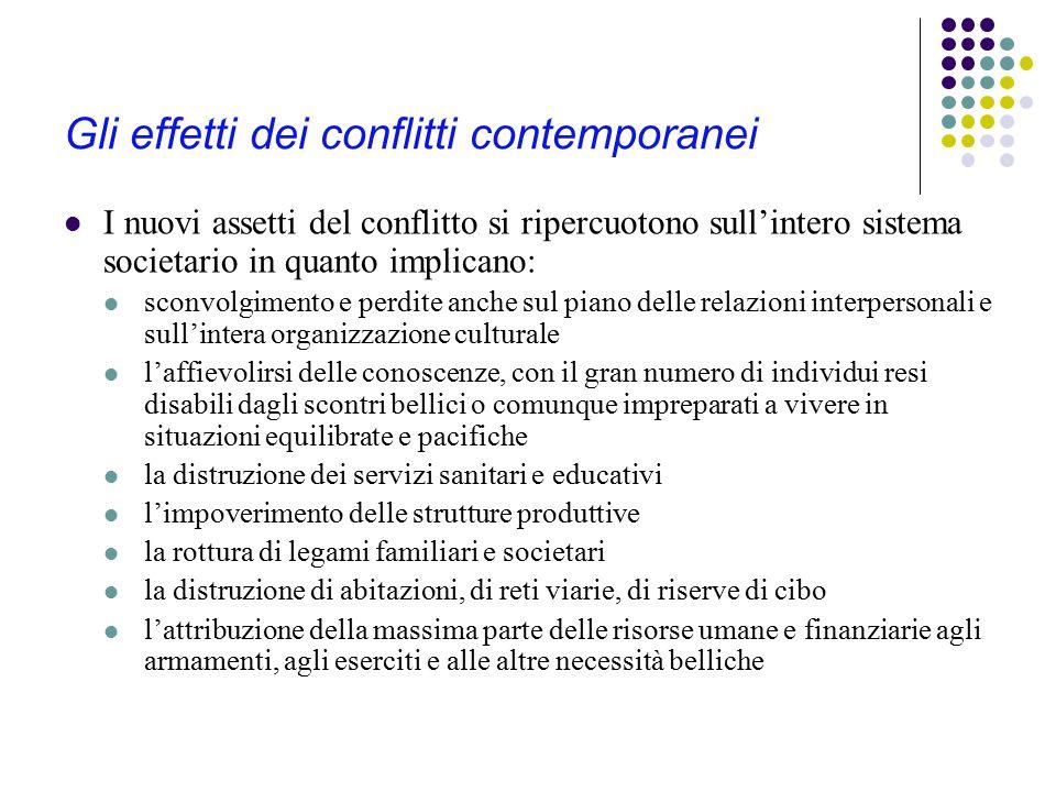 Gli effetti dei conflitti contemporanei I nuovi assetti del conflitto si ripercuotono sull'intero sistema societario in quanto implicano: sconvolgimen