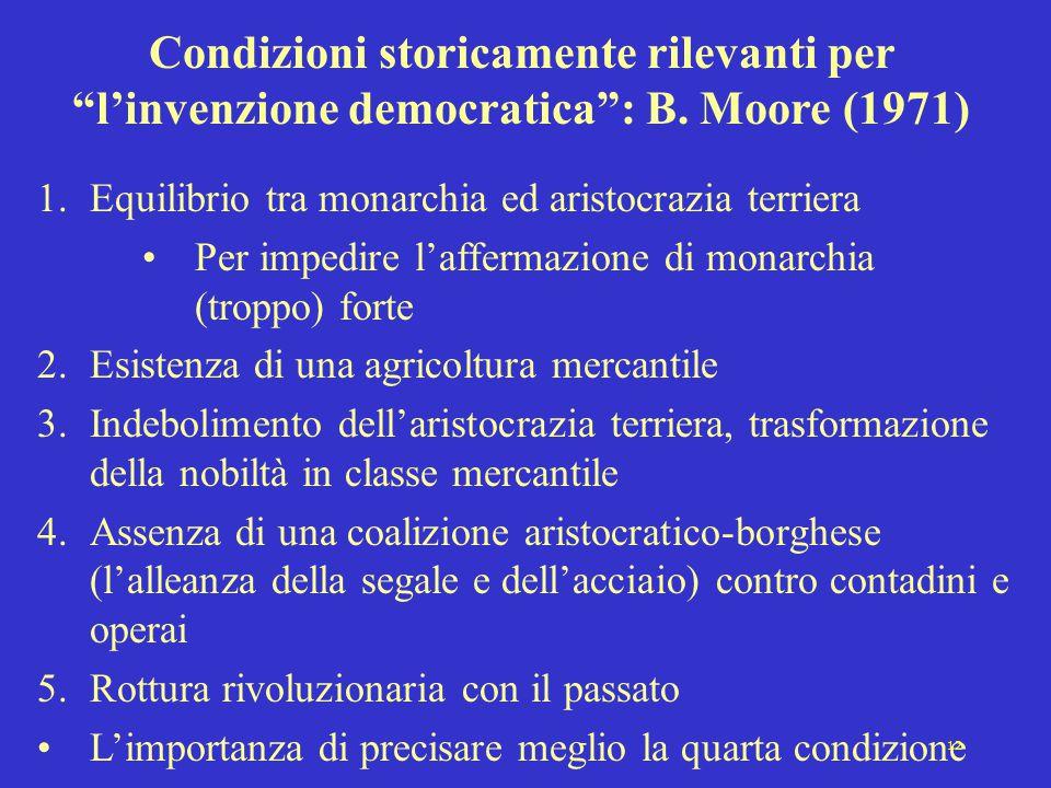 """12 Condizioni storicamente rilevanti per """"l'invenzione democratica"""": B. Moore (1971) 1.Equilibrio tra monarchia ed aristocrazia terriera Per impedire"""