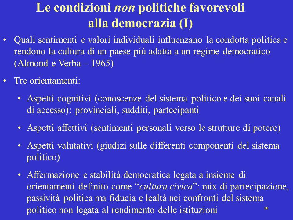 16 Le condizioni non politiche favorevoli alla democrazia (I) Quali sentimenti e valori individuali influenzano la condotta politica e rendono la cult
