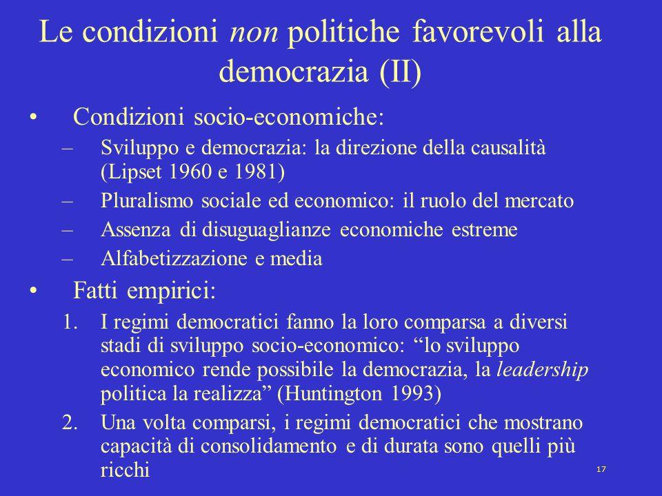 17 Le condizioni non politiche favorevoli alla democrazia (II) Condizioni socio-economiche: –Sviluppo e democrazia: la direzione della causalità (Lips