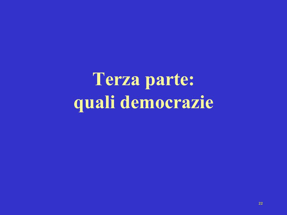 22 Terza parte: quali democrazie