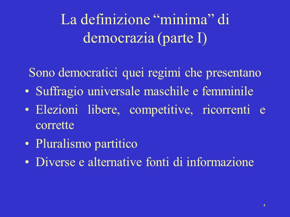 """4 La definizione """"minima"""" di democrazia (parte I) Sono democratici quei regimi che presentano Suffragio universale maschile e femminile Elezioni liber"""