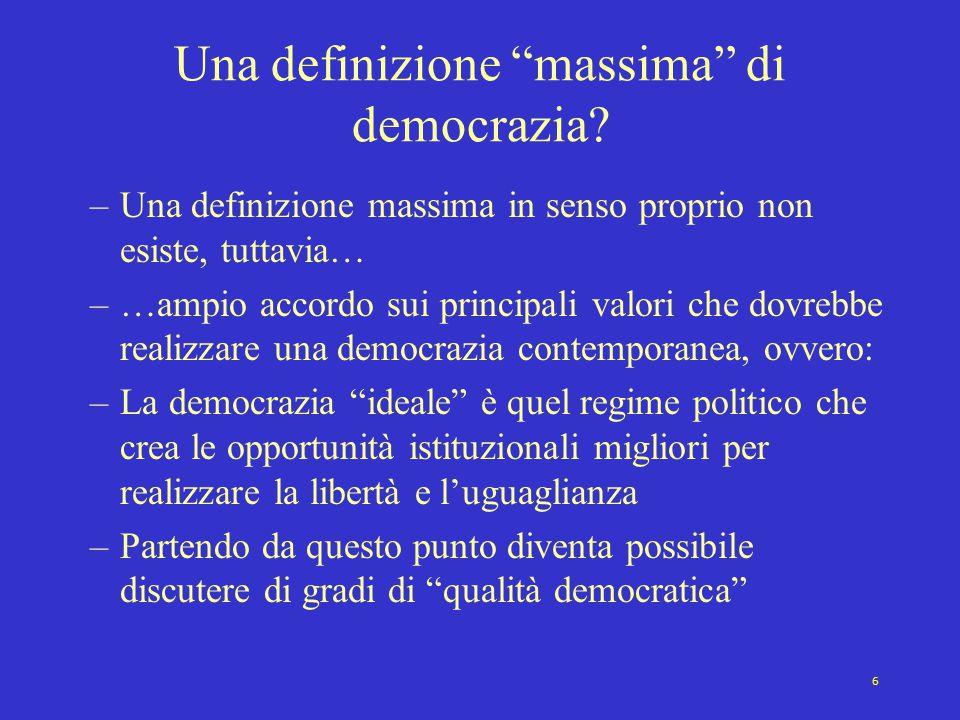 """6 Una definizione """"massima"""" di democrazia? –Una definizione massima in senso proprio non esiste, tuttavia… –…ampio accordo sui principali valori che d"""