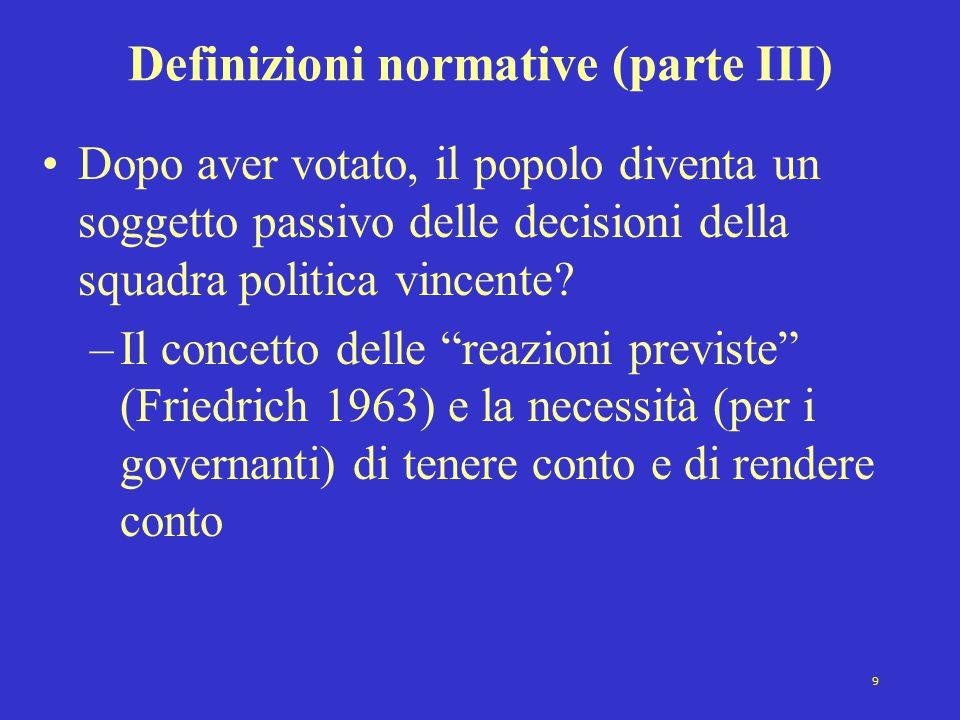 9 Definizioni normative (parte III) Dopo aver votato, il popolo diventa un soggetto passivo delle decisioni della squadra politica vincente? –Il conce