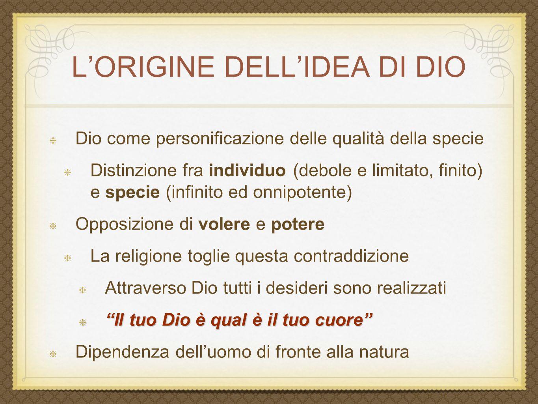 L'ORIGINE DELL'IDEA DI DIO Dio come personificazione delle qualità della specie Distinzione fra individuo (debole e limitato, finito) e specie (infini