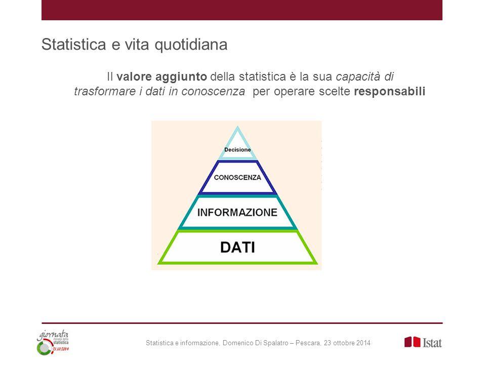 Statistica e vita quotidiana Statistica e informazione, Domenico Di Spalatro – Pescara, 23 ottobre 2014 Il valore aggiunto della statistica è la sua capacità di trasformare i dati in conoscenza per operare scelte responsabili